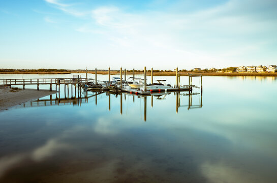 Floating docks near Shred The Gnar Wake School in Bans Channel. Wrightsville Beach, North Carolina. Space for copy