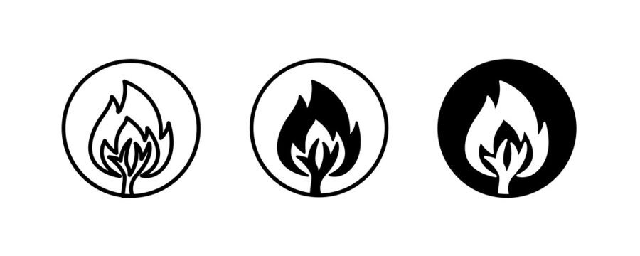Forest Fire icon,  Uncontrolled fire flame in huge area covered with trees. Damaging large ecosystems. Air pollution icons button, vector, sign, symbol, logo, illustration, editable stroke