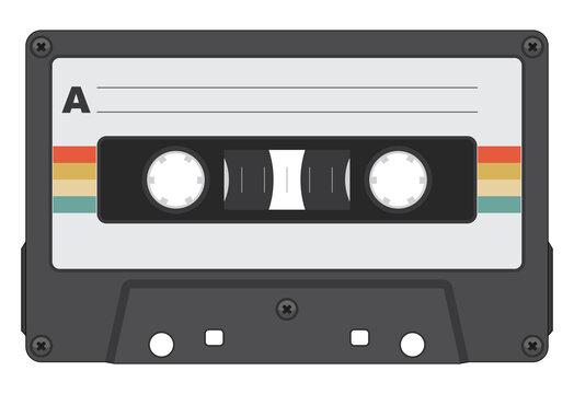 Retro Cassette Tape Isolated Vector Illustration