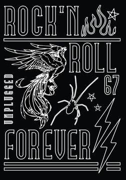 Rock'n roll poster design with phoenix illustration