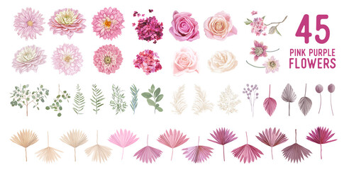 Dried pampas grass, dahlia, rose flowers, tropical palm leaves vector bouquets. Pastel watercolor floral Wall mural