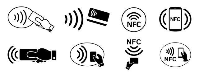 Set NFC wireless payment technology icon, contactless payment, credit card tap pay wave logo, near field communication sign, contactless pay pass fast payment symbol, smart key card contact nfc - fototapety na wymiar