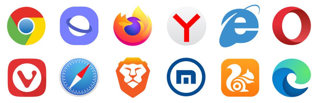 Kiev, Ukraine - March 07, 2021: Set popular logos internet browser. Google Chrome, Mozilla Firefox, Microsoft Edge, Internet Explorer, Safari, Opera, Yandex, Brave, UC Browser. Editorial vector