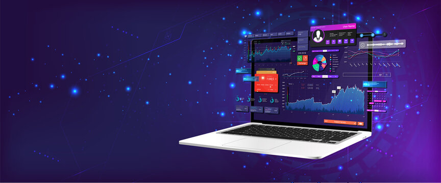 Dashboard Application on laptop with business analytics data, charts and graphics on perspective laptop. Web banner, concept statistics graphs, investment, trade and finance management. Vector