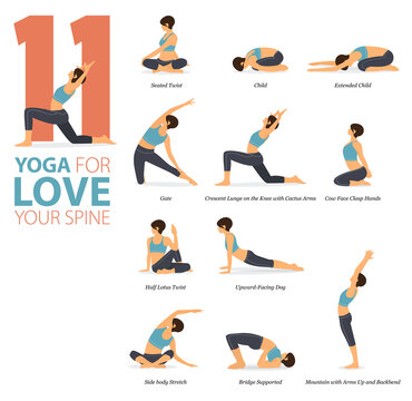 11 Yoga poses or asana posture for workout in Love Your Spine concept. Women exercising for body stretching. Fitness infographic. Flat cartoon vector