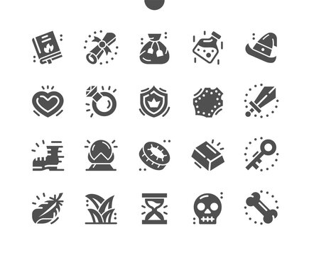 Fantasy game. Gold, key, witch hat and crystal ball. Gaming, spellbook, book, gui, inventory, ui, skill, interface, epic games, fairytale and magic. Vector Solid Icons. Simple Pictogram
