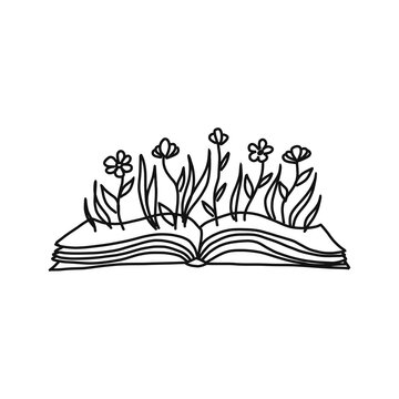 World book day card. Open book with flowers sprigs. Conceptual illustration of write your own future. Vector concept for bookstore, literature club or library. Sketch illustration