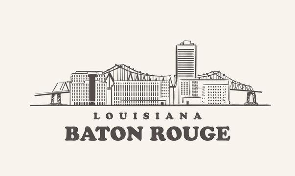 Baton Rouge skyline, louisiana hand drawn sketch