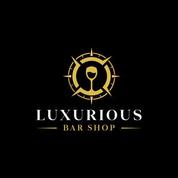 luxury wine shop and liquor store design logo in glossy gold