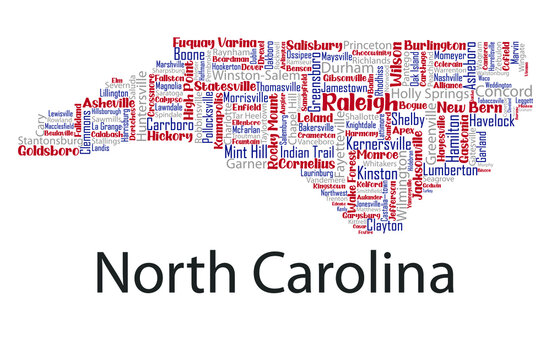Word cloud map design includes all Counties, Cities, Municipalities in the state of North Carolina. Three different types of fonts are grouped by different colors so they can be easily edited.