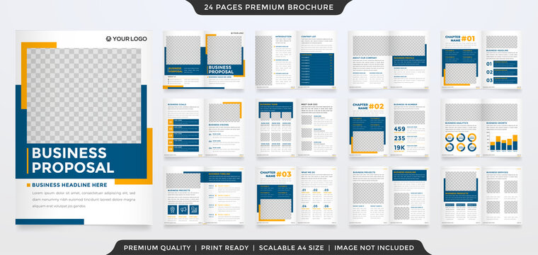bifold brochure template design with clean style and minimalist concept and modern layout use for business proposal and annual report