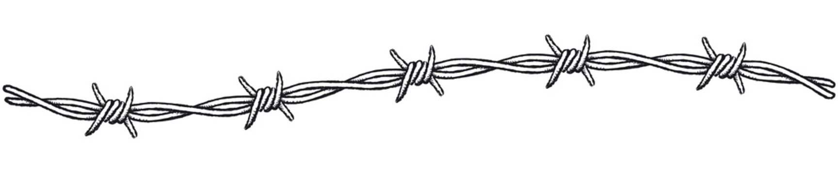 Barbed wire border, wavy. Clip-art illustration of a barbed wire border on a white background.