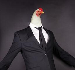 Obraz Chicken head in a black suit - fototapety do salonu
