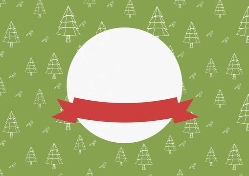 White circle with copy space and red ribbon with christmas trees on green background
