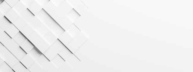 Random shifted rotated white cube boxes block background wallpaper banner with copy space - fototapety na wymiar