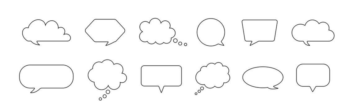 Speech bubble. Comic balloon for thought and talk. Outline cloud for chat. Cartoon quote box for dialog and text. Line frame for discussion and think. Speech bubbles in doodle style. Vector