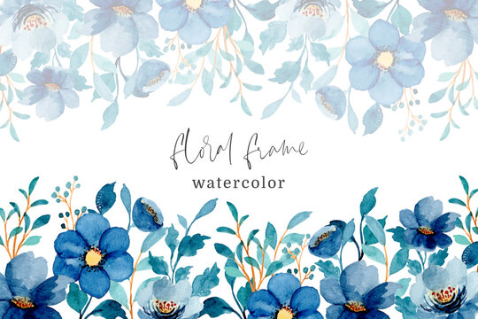 Blue floral frame with watercolor