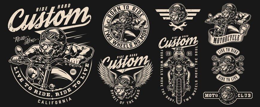 Angry bear bikers vintage labels set