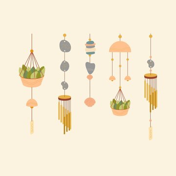 A set of wind chimes. Vector set of bells. Wind sounds. Wind music.