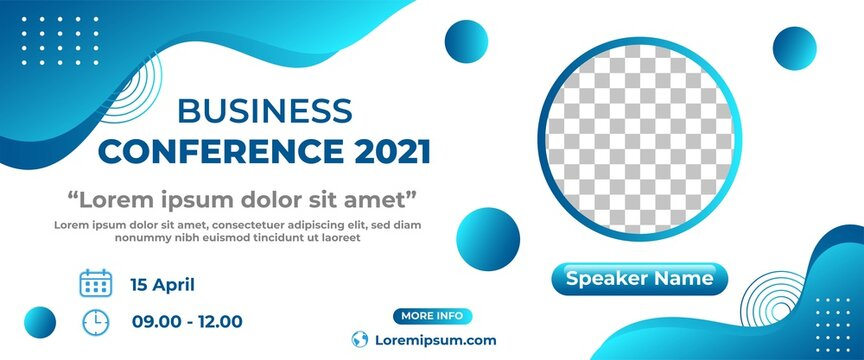 Business conference banner design. Horizontal banner design with abstract fluid shape. Flat design vector with a photo collage.