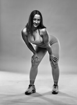 Curvy woman doing fitness exercises