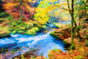 Impressionnisme. Sous bous et rivière à l'automne en Bohême. Tchéquie