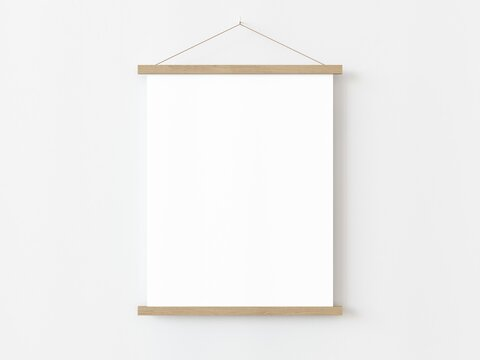 One vertical rectangle roll up poster mockup with light wood border hanging on a white wall in empty room. Isolated roll up poster mockup template on white background. 3D illustration