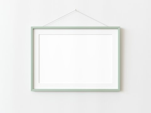 One green wooden rectangular horizontal frame hanging on a white textured wall mockup, Flat lay, top view, 3D illustration