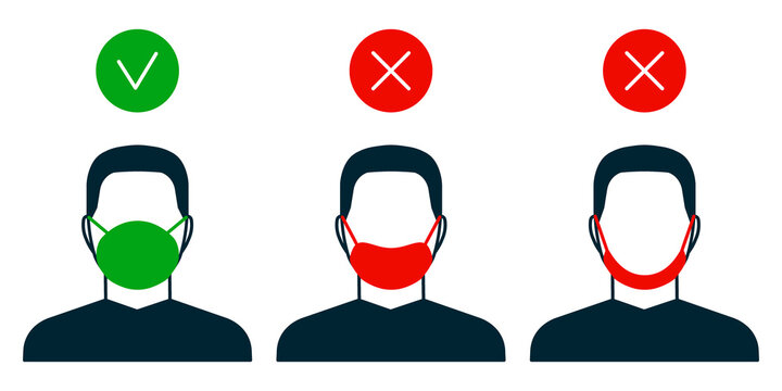 Right and wrong way to wear face mask, man icon. Correct and mistakes use wearing mask. Face mask for protection safe health. Vector illustration