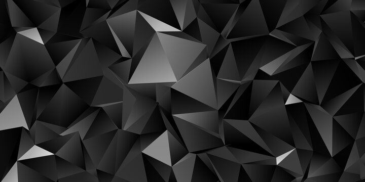 Abstract black triangle background, low poly illustration, dark polygon pattern
