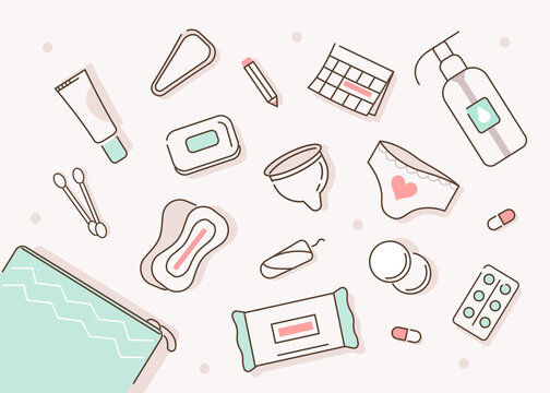 Cosmetic Bag with Female Hygienic and Skin Care Products around. Pad, Menstrual Cup, Tampons and other Health Care Cosmetic. Feminine Intimate Hygiene for Period. Flat Cartoon Vector Illustration.