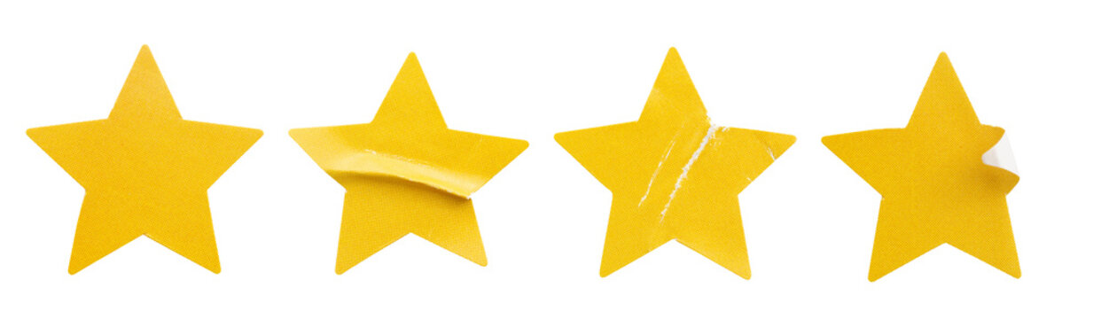 Yellow star shape paper sticker label set isolated on white background