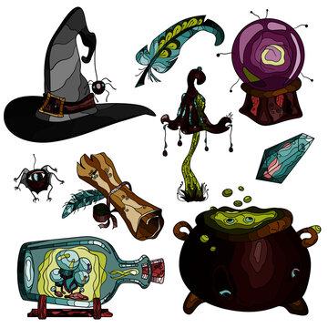 set of halloween elements magic items