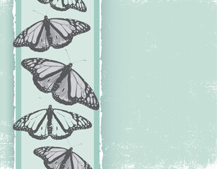 Grayscale butterflies in a vertical column on a light teal grunge background