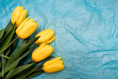 Frame of tulips on turquoise background. Spring flowers. Greeting card for Valentine's Day, Woman's Day and Mother's Day. Top view.