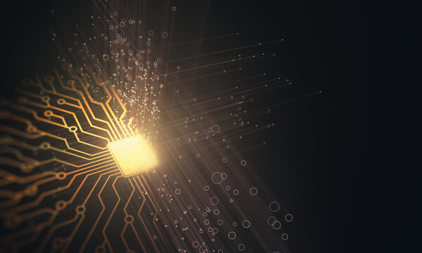 Artificial intelligence. Microchip connections, electric pulses and binary codes.