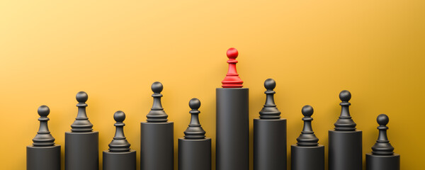 Fototapeta Leadership and growth concept, red pawn of chess, standing out from the crowd of black pawns, on yellow background with empty copy space. 3D Rendering
