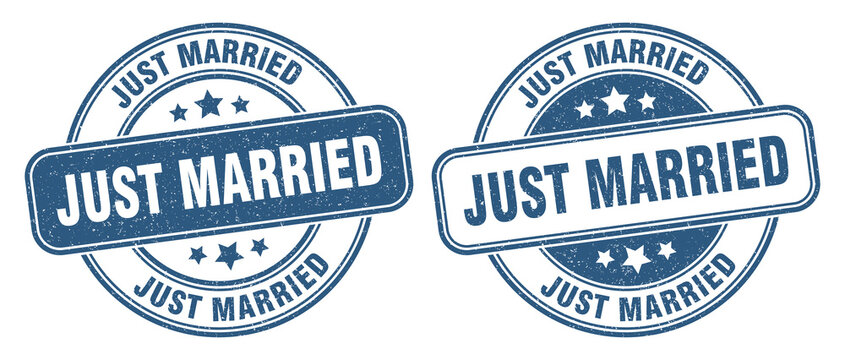 just married stamp. just married label. round grunge sign