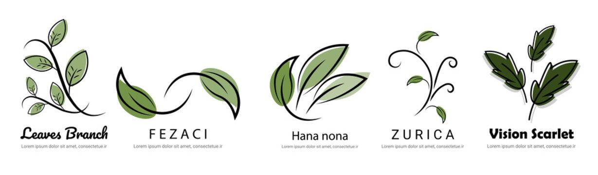 human in nature leaf logo brand design set vector