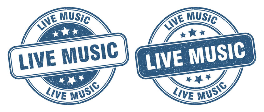 live music stamp. live music label. round grunge sign
