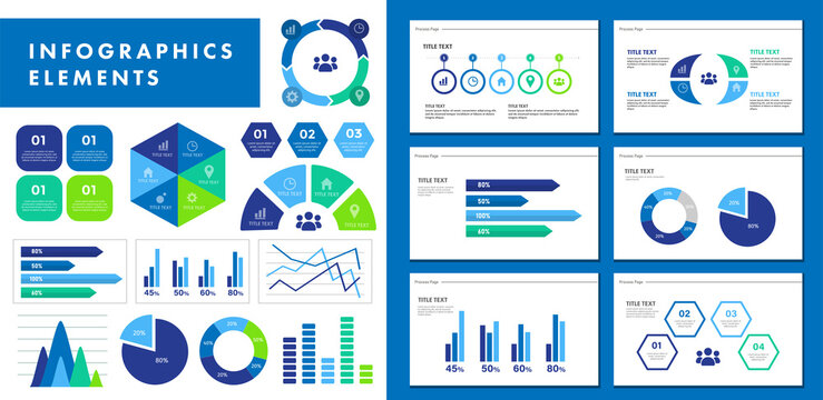 ビジネスシーンで役に立つインフォグラフィック、いろいろなグラフのベクターイラスト、ピクトグラムやアイコンのセット