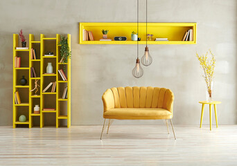 Grey concrete wall background, yellow living room sofa niche and bookshelf with lamp concept. - fototapety na wymiar