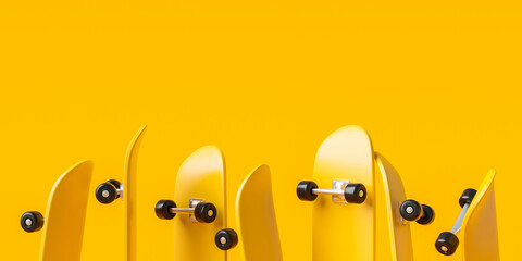 Yellow skateboard or skating surf board on vibrant color background with extreme lifestyle. 3D rendering.