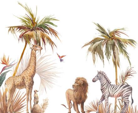 Safari wildlife wallpaper. Illustration with zebra, lion and giraffe. Watercolor animal and jungle flora on white background.