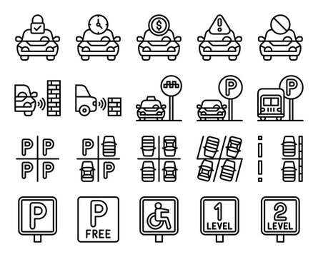 Parking lot related line icon set, vector illustration