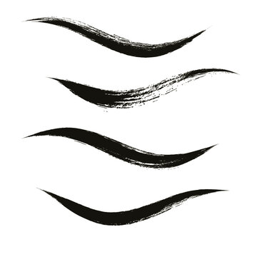 Makeup strokes, Set of mascara smudge, makeup eye pencil swatches, Beauty and cosmetic black brush smudges vector background. smear make up lines collection, liquid make up texture isolated on white.