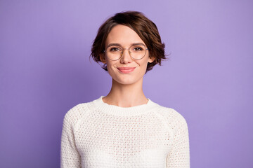 Photo portrait of pretty smart female student wearing round glasses isolated on pastel purple color background