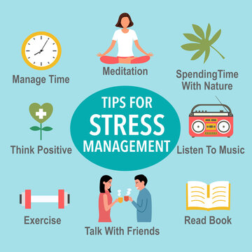 Tips for stress management with useful advices infographic concept vector illustration. Stress relief ways.