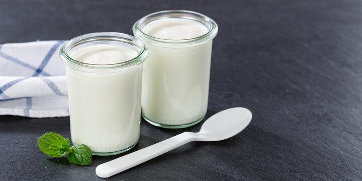 Natural yogurt breakfast healthy organic eating yoghurt food slate banner