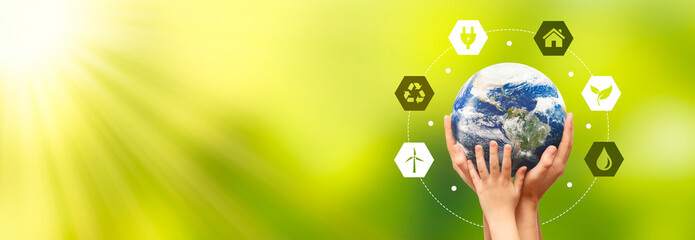 Earth globe in hands. Environmental protection. Elements of this image furnished by NASA